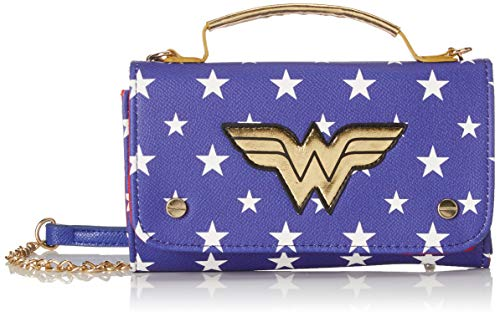 BIOWORLD MERCHANDISING Damen Mini Sac À Main Dc Comics Wonder Woman Clutch, Blau (Bleu), 4x11x18 centimeters (Woman Wonder Tasche)