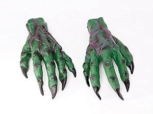 Large Green Goblin Hands Gloves Monster Crocodile Halloween Fancy Dress Adult (accesorio de disfraz)