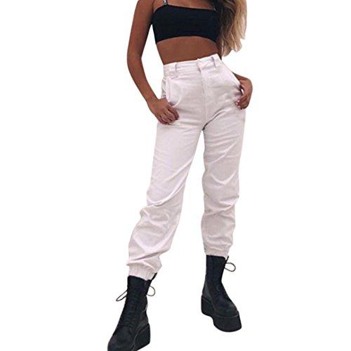 l Harem Baggy Hip Hop Hosen Tanz Jogging Sweat Hose Hosen Cool Street Hose + 1PC Kette (Weiß, S) (Kette Leinen)