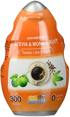 EZ-Sweetz (Single Pack 1.36oz - Liquid Stevia & Monk Fruit Sweetener 300 Servings/Bottle)