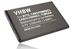 Batterie Li-Ion 1500mAh (3,7V) pour Alcatel One Touch 993, 995, OT-995, OT-995 Ultra, OT-996 remplace BY75, CAB31Y0002C1, CAB31Y0006C1, TLIB5AA.