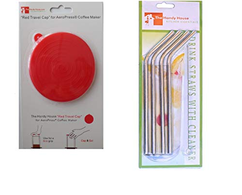 The Red Cap designed for AeroPress Coffee Maker with Stainless Steel Straws -