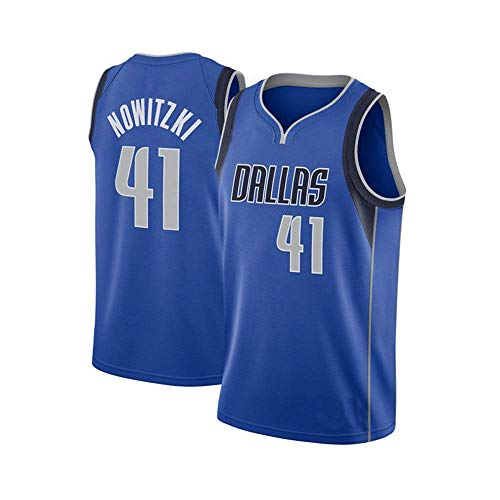 PROSPECT Mavericks Nowitzki 41# Basketball Jersey Herren Trikot genähte Männer Shirt (S, Blau)