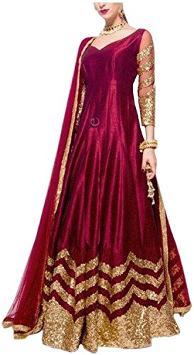 Sai creation New Anarkali Style For Party,Wedding or Festival Wear Embroidery Salwar Suit/Gown/Lengha Choli (Red Color _Free Size)-133