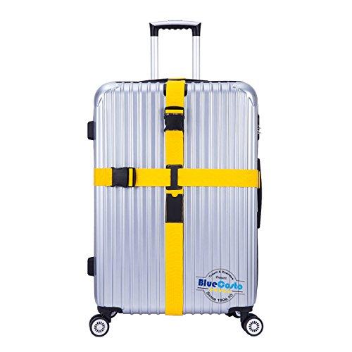 CSTOM® (Amarillo) Largo Ajustable Cruz Correa de Seguridad Para Equipaje 600001-YEL