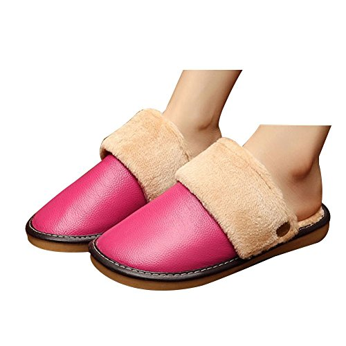 TELLW Pantoufles en Cuir Chaud en Coton Hommes et Femmes D'Hiver Chaussures floorcowhide Maison Rose