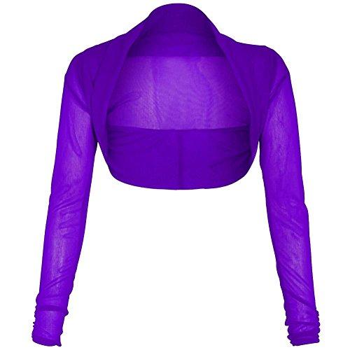 Janisramone Donna Nuova maglia Sheer Chiffon Bolero Coprispalle Cardigan Corto Manica Lunga Purple