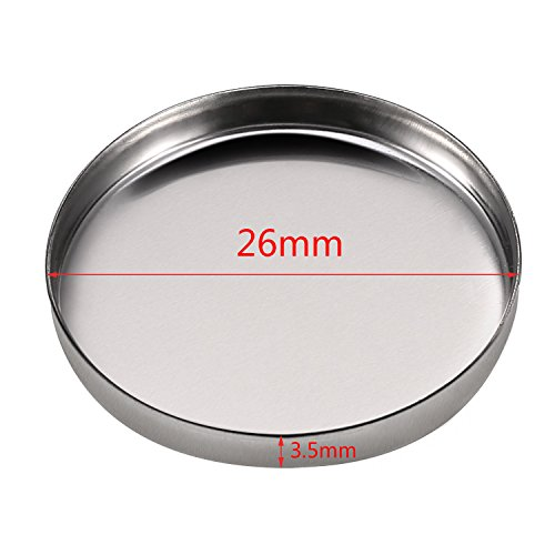 50 Pack Empty Round Metal Tin Palette Pans Cosmetic Eyeshadow Blush Lipstick Organizer Size 26 mm for Magnets Cosmetic Palettes