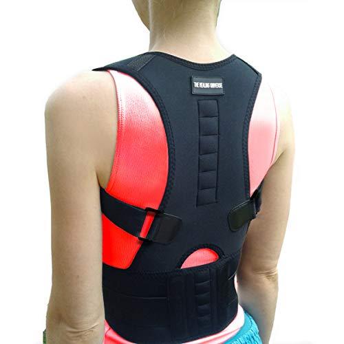 The Healing Universe - Kyphosis Bandage - Zur Geradehaltung von Rücken und Schultern - Beste Rückenunterstützung - Lindert Schmerzen der Wirbelsäule - gegen Haltungsschäden und Ermüdung (Black, Small)
