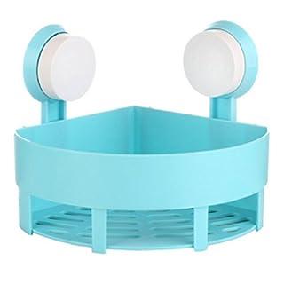 Bad Eckregal, angeer Kunststoff Badezimmer Küche Wand Corner Basket Saugnapf Badezimmer Dusche Ecke Caddy für Shampoo, Conditioner, Seife (blau)