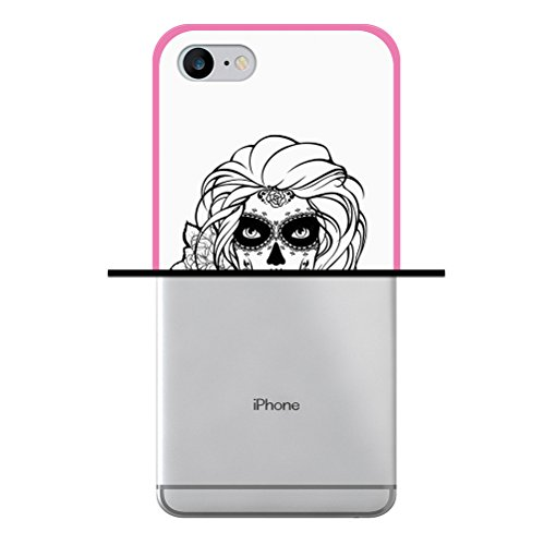 iPhone 7 Hülle, WoowCase Handyhülle Silikon für [ iPhone 7 ] Schwarzer zuckeriger Totenkopf Handytasche Handy Cover Case Schutzhülle Flexible TPU - Schwarz Housse Gel iPhone 7 Rosa D0355