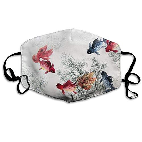 Monicago Einzigartige Unisex-Mundmaske, Gesichtsmaske, Goldfish Chinese Ink Painting Polyester Anti-dust Masks - Fashion Washed Reusable Face Mask for Outdoor ()
