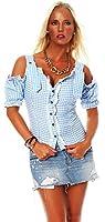 Fashion4Young Damen Dirndlbluse Bluse Trachtenbluse Dirndl Trachten Oktoberfest Lederhose Trachtenmieder