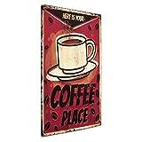 PHOTOLINI Blechschild Coffee Place 30x40 cm Vintage Küchenschild Metallschild Kaffee-Bild
