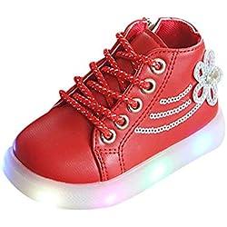 Chaussures de Sport, Manadlian Sneaker Bébé Enfants Toddler Fleur Enfants Bébé Coeur Chaussures LED Allument des Baskets Lumineuses LED Chaussures