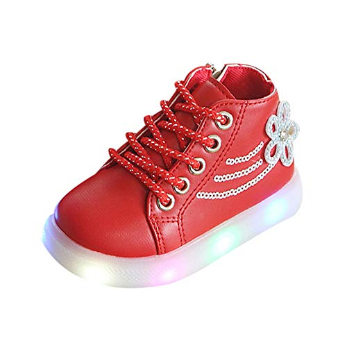 Cinnamou Baby Boots,Unisex Kids Baby Girls Boys Floral Crystal Led Light Luminous Boots Winter Warm Toddler Booties Running Sport Boots Shoes