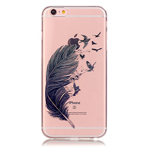 Handyhülle iPhone 6S Silikon, LuckyW TPU Handyhülle für Apple iPhone 6 6S(4.7 zoll) Soft Silikon Tasche Transparent Schale Clear Klar Hanytasche Durchsichtig Rückschale Ultra Slim Thin Dünne Schutzhül Grau Feder