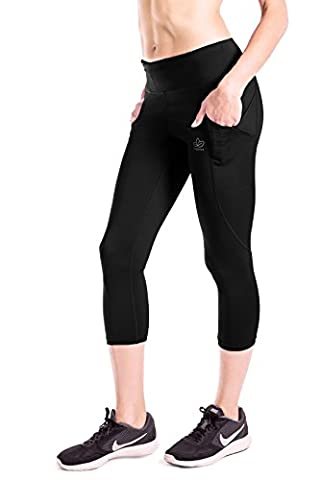 Yogipace Women's UPF 50+ Side Pockets for Smartphone Water Bottle Compression Capris Cycling Tights without Chamois Black Size