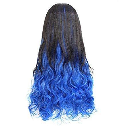 MapofBeauty 75cm/30 Pouce Longue Bouclé Femmes Moitié perruque (Noir Bleu)