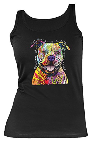 Goodman Design ® Pitbull Motiv Damen Tank Top - Neon Hunde Trägershirt Frauen : Pitbull - Kunstmotiv Hunde Kunstdruck Gr: XXL