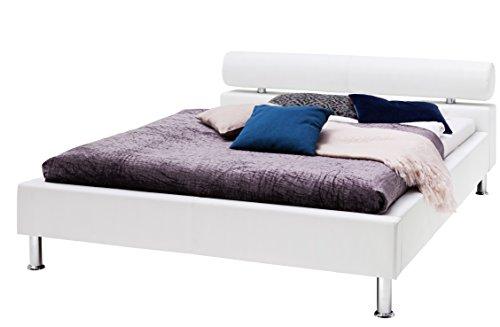 sette notti Polsterbett Bett 100x200 Weiß, Kunstleder Bett Liegefläche 100x200 cm, Anello Art Nr. 332-10-10000