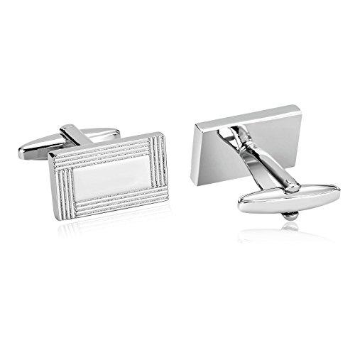 Aeici Herren Manschettenknopf Silber Zwei Sektion Rechteck Streifen Manschettenknöpfe
