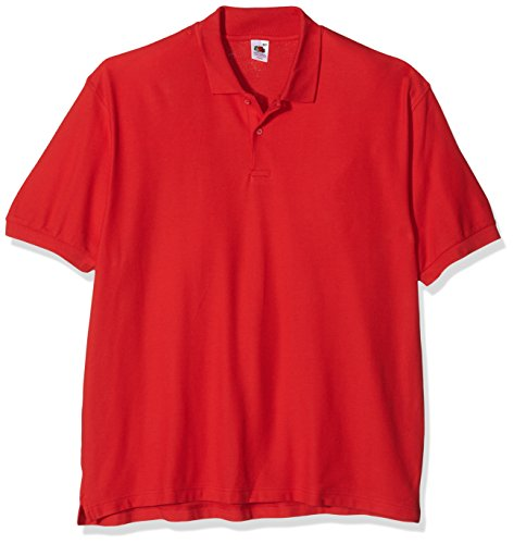 Fruit of the Loom Herren Poloshirt SS035M, Rot, XL