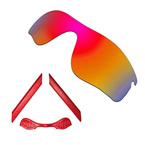 HKUCO For Oakley Radarlock Path Red Polarized Replacement Lenses And Red Earsocks Rubber Kit
