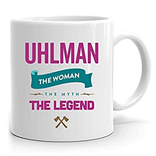 Uhlman Mug: Personalized Gift, Ceramic Mug That says Uhlman, 11 oz