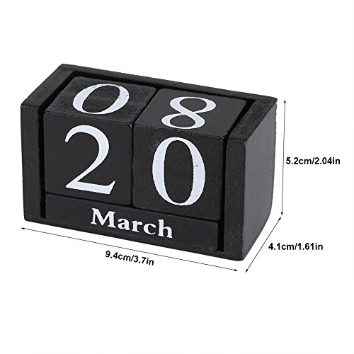 Vintage Wooden Perpetual Desktop Calendar Wood Block Month Date Display Home Office Decoration(Black)