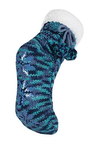 Donne pelliccia ecologica modelli a maglia allineati stivali pistone dell'interno con pinza e carino pom pon in 6 colori, Blu, 37-41 Eur, 4-7 UK