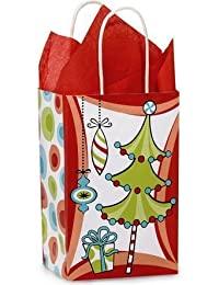 Buttons Bags And Bows Christmas Whimsical WACKY TREES Paper Shopper Gift Bags - Set Of 10 By Buttons Bags And...