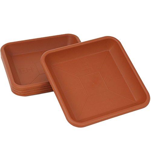 COM-FOUR® 5x Dessous en plastique pour plantes et baignoires, dessous de plat en terre cuite, 16 x 16 cm (05 pièces)