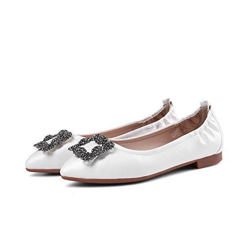 AllhqFashion Femme Tire Pu Cuir Pointu à Talon Bas Couleur Unie Chaussures Légeres Blanc