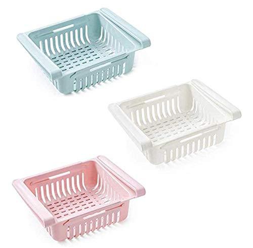 Martin Kench 3 Stück Einstellbare Kühlschrank Organizer Box, Kühlschrank Halter Aufbewahrungsbox, Drawer Bins Kunststoff Kühlschrank Regal, 20,5x16,4x7,6cm