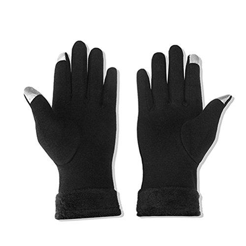 Nanxson(TM) Gants Moufle Velours Épais Outdoor Coupe-vent Hiver Pour Femmes ST0059 Noir