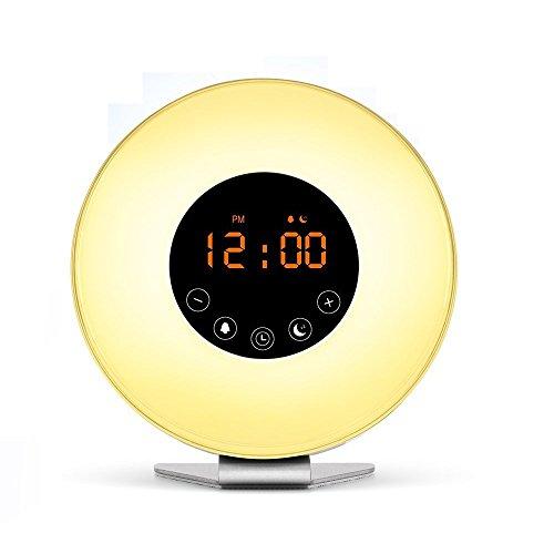 Golvery Wake Up Light Digital Wecker, Sunrise Sunset Simulation Nachttischlampe RGB Umgebungslicht mit Smart Touch Control, Snoooze Funktion, FM-Radio, großes Geschenk für Schlafzimmer (Taub Medizin)