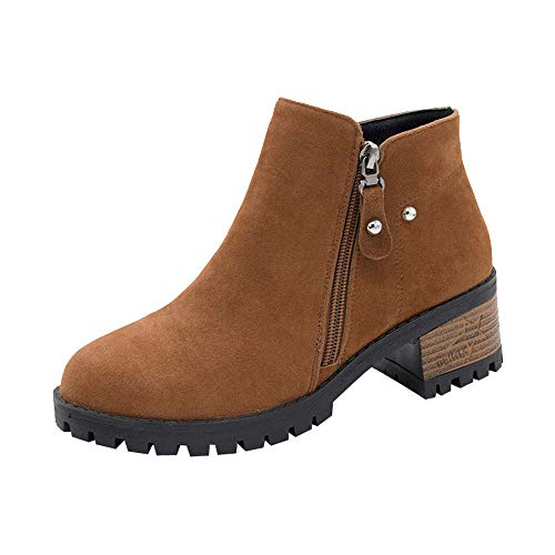 ❤️ Martain Boots for Women, Xinantime 2018 Newest Ladies Autumn Winter Suede Ankle Boots High Heeled Zipper Boot Rivets Flat Snow Boots Lace Up Boots