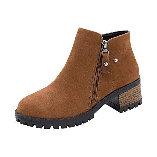 Botas de tacón Alto para Mujer,BBestseller Bota de Cremallera de tacón Alto Remache Redondo y Botines Sport Botas Cortas Solo Zapato de Mujer de Invierno