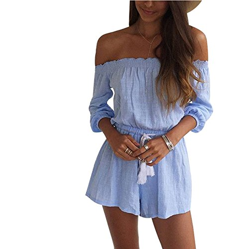 BOMOVO Damen Neckholder Kleid Kurz Kleider Casualkleider Tunika Kleid Blau