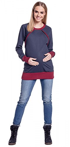 Happy Mama. Damen Umstands-Sweatshirt Stillzeit Lang Ärmel Kontrastdetail. 344p Graphit