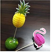 PiniceCore 10Pcs Pineapple Flamingo Craft Toothpick Fruit Toothpick Cake Decorations Bachelorette Party Wedding Decorations Flamingo Deco.