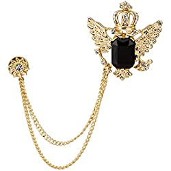 Knighthood Golden Crown With Wing And Black Stone Sunshine Hanging Chain Brooch For Men