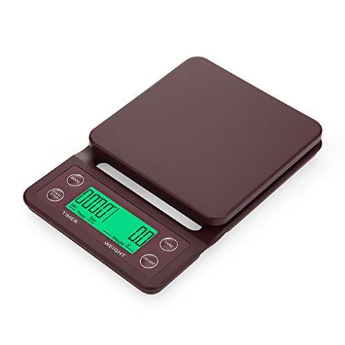 shangjunol 3kg / 5kg Kaffeebohnen Digitale Multifunktions-Küche Lebensmittel-Skala-elektronische Küchenwaagen -Anzeige Weinrot 5kg/0.5g - Skala-timer