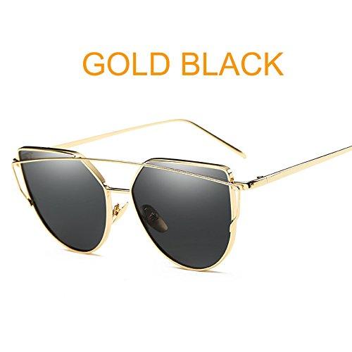 Macxy - Cat Eye Jahrgang Markenentwerfer Goldspiegel Sonnenbrillen für Frauen reflektierende Metall Flache Linse Sonnenbrillen Weibliche oculos [Gold Schwarz] Rose
