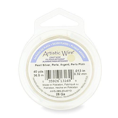 Artistic Wire, 28 Gauge , Silver Plated, Pearl , 40 Yards by Artistic Wire - Wire Gauge