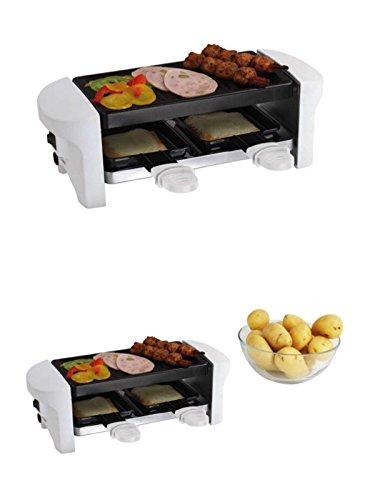Gusseisen Raclette-grill (Raclette-Grill für 2 Personen 350 Watt Weiß Antihaft Beschichtung (Tischgrill, kleiner Elektrogrill, 2 Pfännchen, Aluguss-Grillplatten))