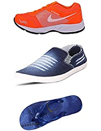 Jabra Perfect Combo Pack Of 2 Shoes- Sneakers And Loafers & Slippers For Men In Various Sizes - B06XVJ7V9H