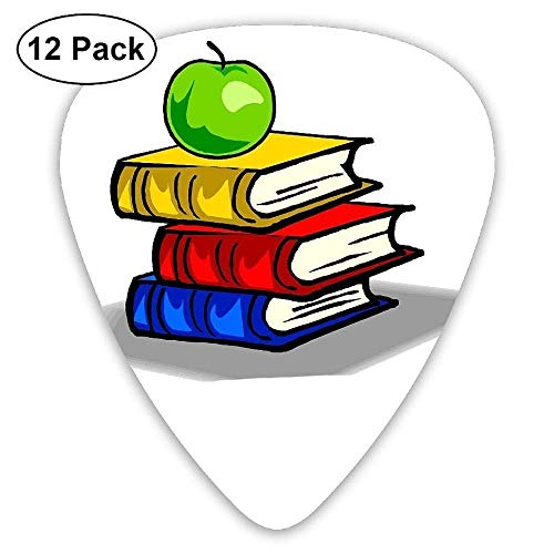 Three Color Books and Green Apple Classic Guitar Pick (12 Pack) for Electric Guita Bass,0.46/0.73/0.96 Mm Guitar -