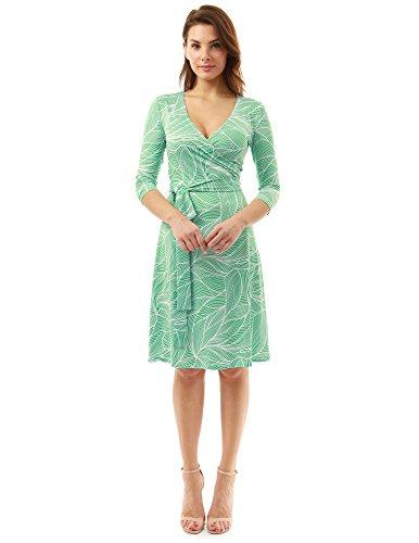 PattyBoutik Damen geometrisches faux wrap Sonnenkleid mit V-Ausschnitt grün  und weiß10
